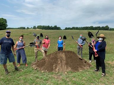Dog Park Task Force members breaking ground at new Dog Park in Amherst, MA